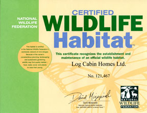 National Wildlife Federation Certifies New Wildlife Habitat at The Original Log Cabin Homes Ltd.