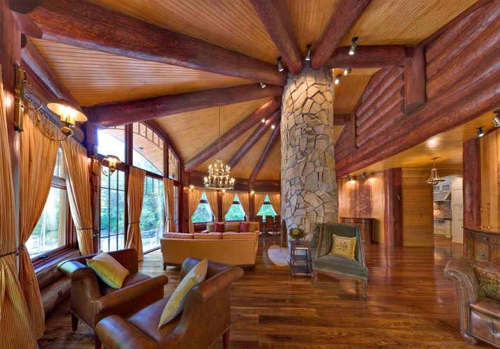 Log cabin homes kits interior photo gallery for Interior pictures of post and beam homes
