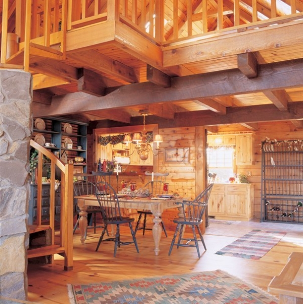 Log cabin homes kits interior photo gallery for Log home interior designs