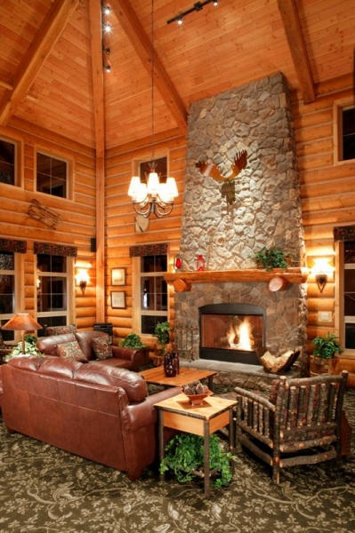 Log cabin homes kits interior photo gallery for Log cabin builders in alabama